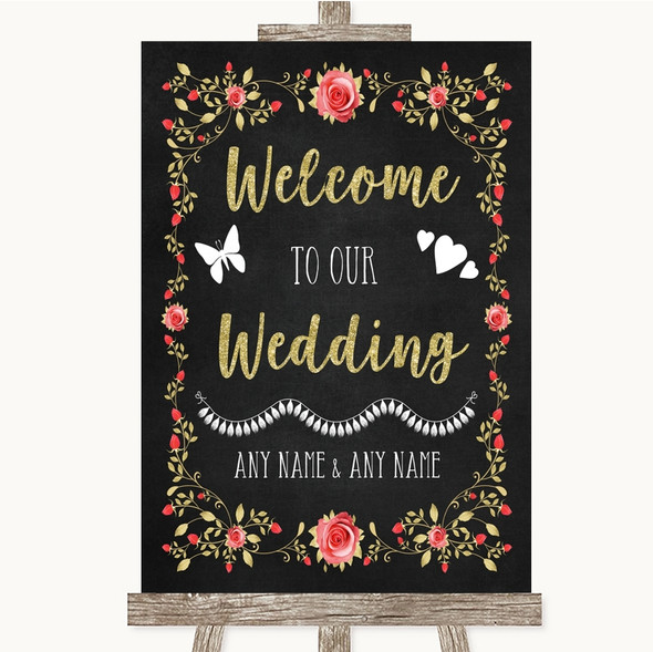 Chalk Style Blush Pink Rose & Gold Welcome To Our Wedding Sign