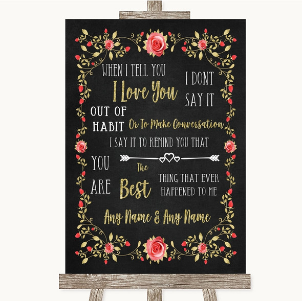 Chalk Style Blush Pink Rose & Gold When I Tell You I Love You Wedding Sign