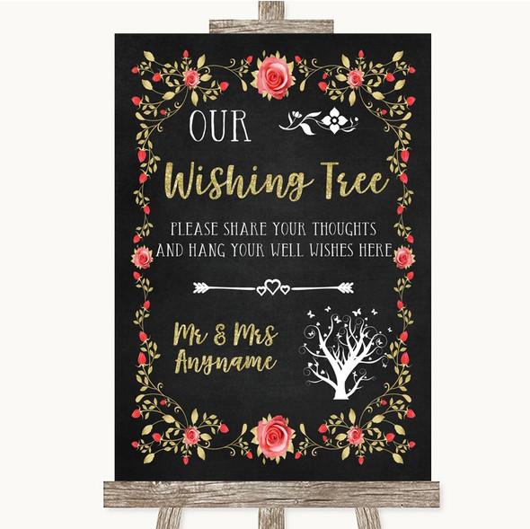 Chalk Style Blush Pink Rose & Gold Wishing Tree Personalised Wedding Sign