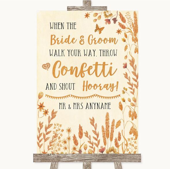 Autumn Leaves Confetti Personalised Wedding Sign