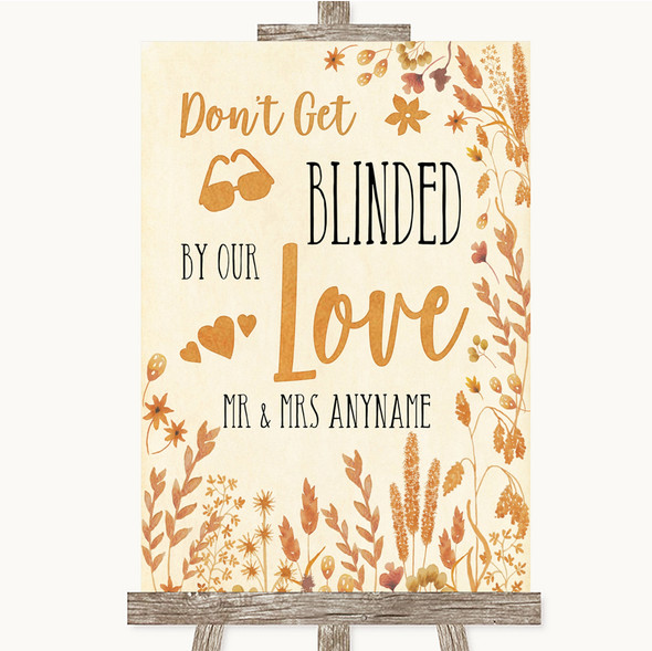 Autumn Leaves Don't Be Blinded Sunglasses Personalised Wedding Sign