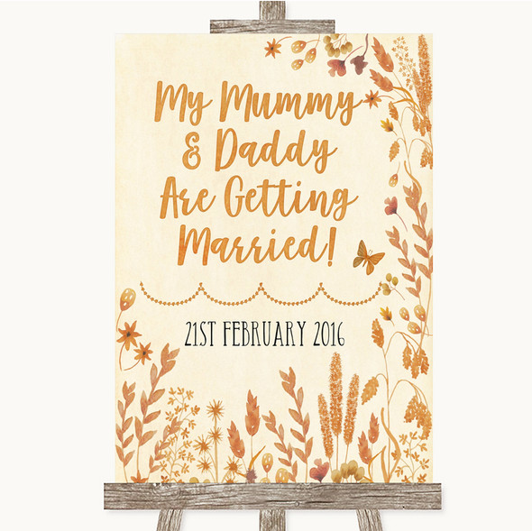Autumn Leaves Mummy Daddy Getting Married Personalised Wedding Sign