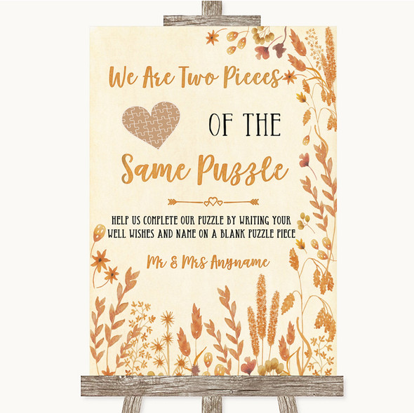 Autumn Leaves Puzzle Piece Guest Book Personalised Wedding Sign