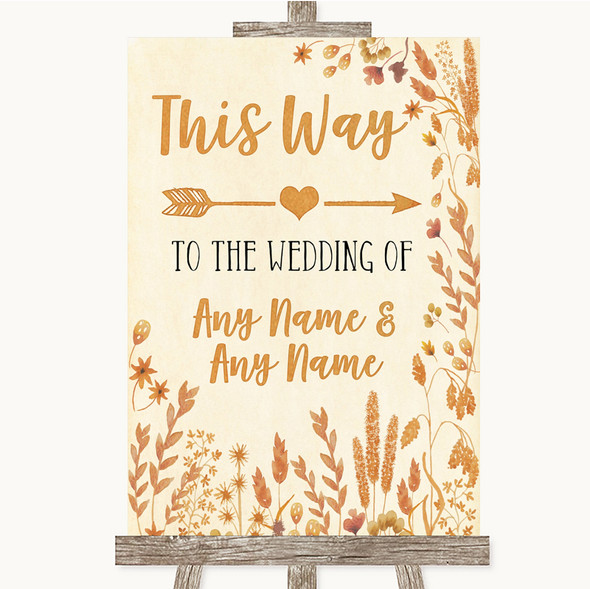Autumn Leaves This Way Arrow Right Personalised Wedding Sign