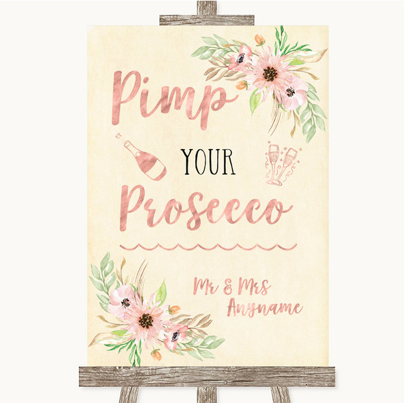 Blush Peach Floral Pimp Your Prosecco Personalised Wedding Sign