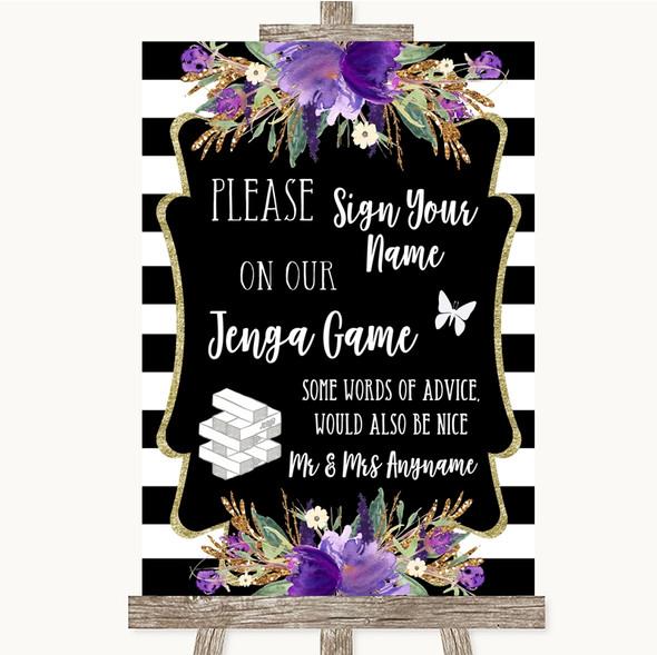 Black & White Stripes Purple Jenga Guest Book Personalised Wedding Sign