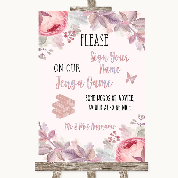 Blush Rose Gold & Lilac Jenga Guest Book Personalised Wedding Sign