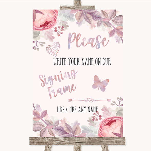 Blush Rose Gold & Lilac Signing Frame Guestbook Personalised Wedding Sign