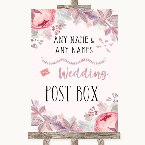 Blush Rose Gold & Lilac Card Post Box Personalised Wedding Sign