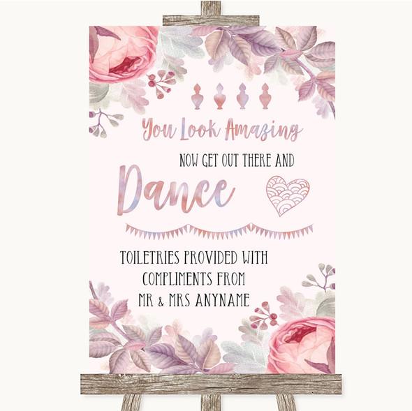 Blush Rose Gold & Lilac Toiletries Comfort Basket Personalised Wedding Sign