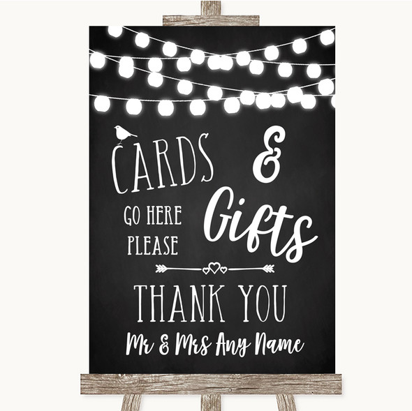 Chalk Style Black & White Lights Cards & Gifts Table Personalised Wedding Sign