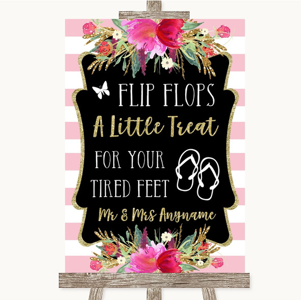Gold & Pink Stripes Flip Flops Dancing Shoes Personalised Wedding Sign