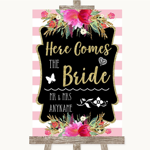 Gold & Pink Stripes Here Comes Bride Aisle Personalised Wedding Sign