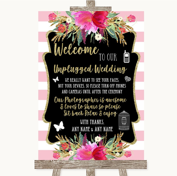 Gold & Pink Stripes No Phone Camera Unplugged Personalised Wedding Sign