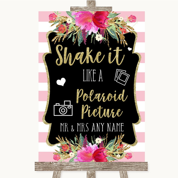 Gold & Pink Stripes Polaroid Picture Personalised Wedding Sign