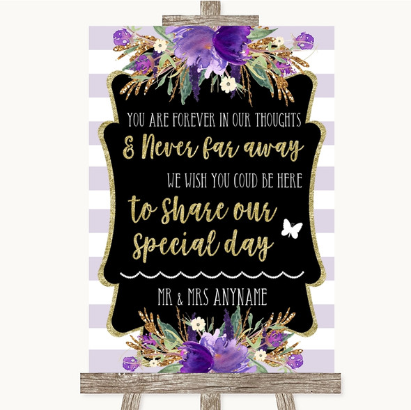 Gold & Purple Stripes In Our Thoughts Personalised Wedding Sign