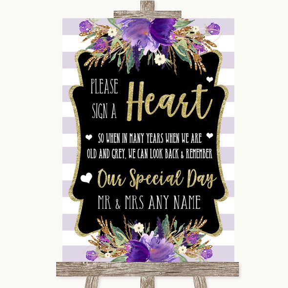 Gold & Purple Stripes Sign a Heart Personalised Wedding Sign