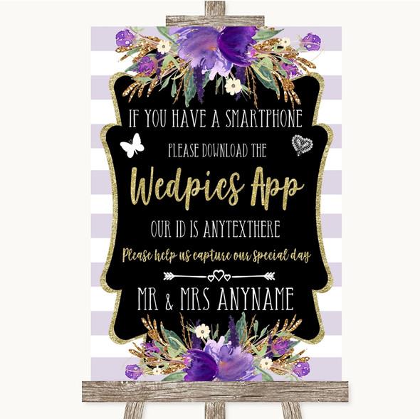 Gold & Purple Stripes Wedpics App Photos Personalised Wedding Sign