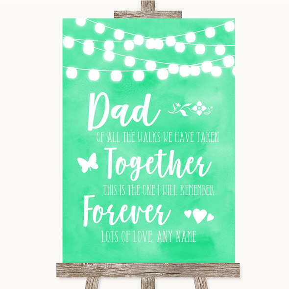 Mint Green Watercolour Lights Dad Walk Down The Aisle Personalised Wedding Sign