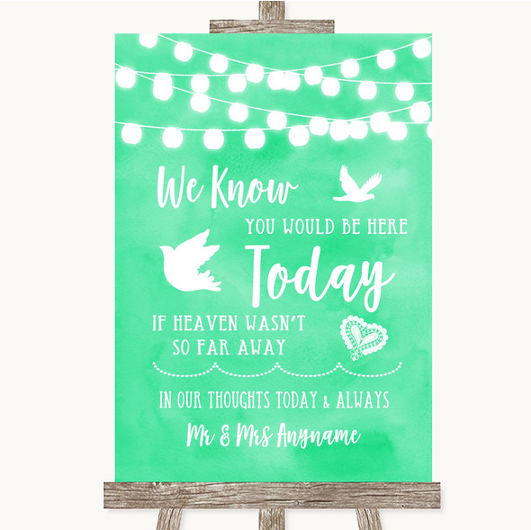 Mint Green Watercolour Lights Loved Ones In Heaven Personalised Wedding Sign