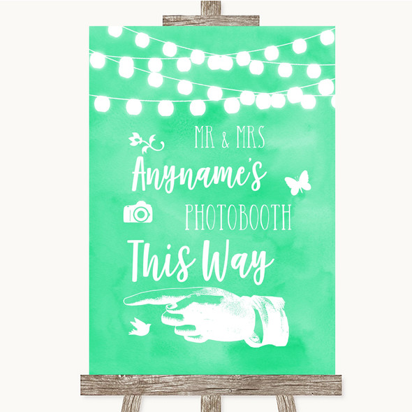 Mint Green Watercolour Lights Photobooth This Way Left Personalised Wedding Sign