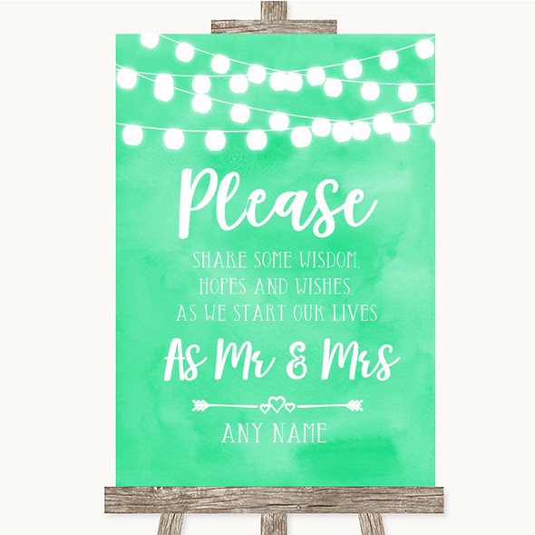 Mint Green Watercolour Lights Share Your Wishes Personalised Wedding Sign