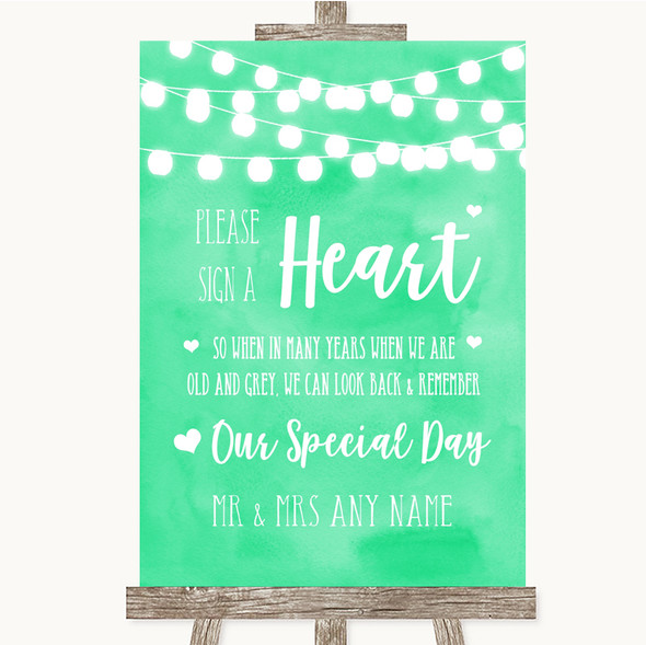 Mint Green Watercolour Lights Sign a Heart Personalised Wedding Sign