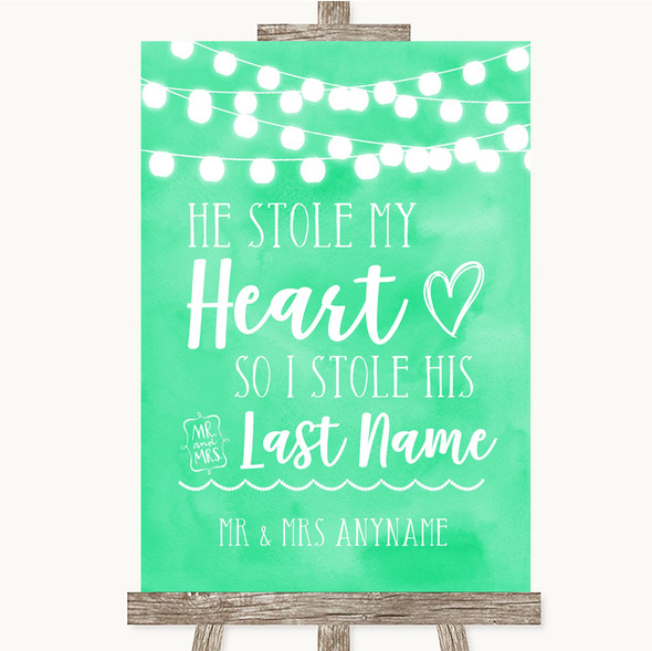 Mint Green Watercolour Lights Stole Last Name Personalised Wedding Sign