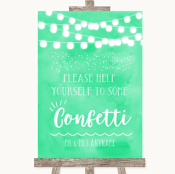 Mint Green Watercolour Lights Take Some Confetti Personalised Wedding Sign