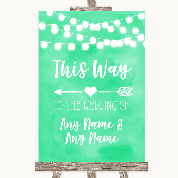 Mint Green Watercolour Lights This Way Arrow Left Personalised Wedding Sign