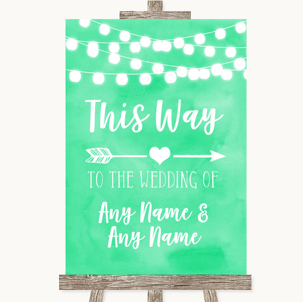 Mint Green Watercolour Lights This Way Arrow Right Personalised Wedding Sign