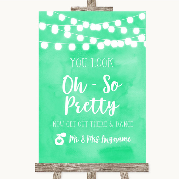 Mint Green Watercolour Lights Toilet Get Out & Dance Personalised Wedding Sign