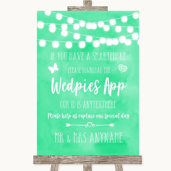 Mint Green Watercolour Lights Wedpics App Photos Personalised Wedding Sign