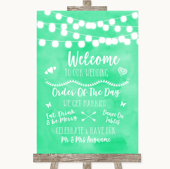 Mint Green Watercolour Lights Welcome Order Of The Day Personalised Wedding Sign