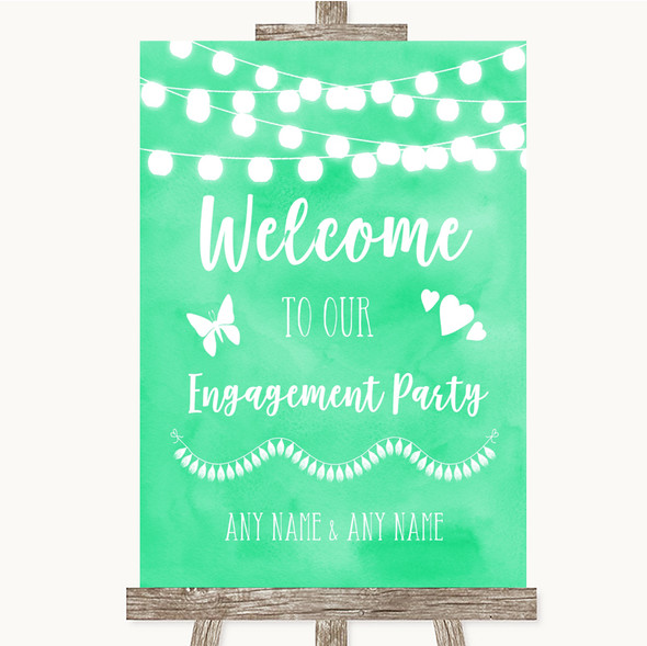 Mint Green Watercolour Lights Welcome To Our Engagement Party Wedding Sign