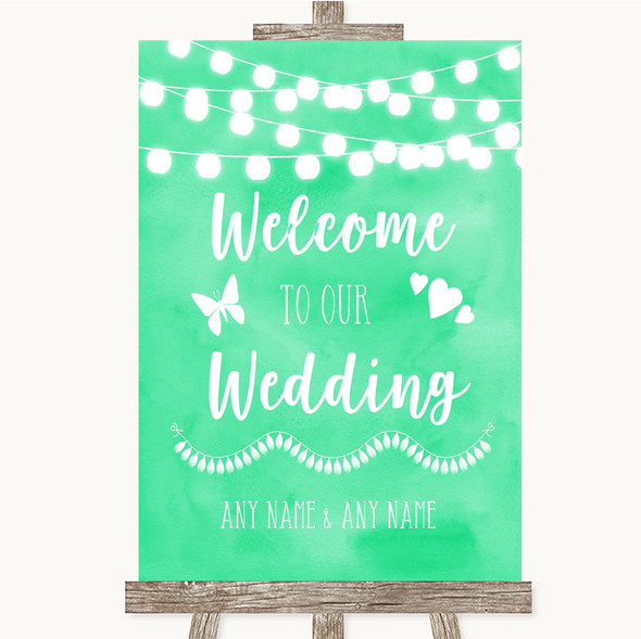 Mint Green Watercolour Lights Welcome To Our Wedding Personalised Wedding Sign