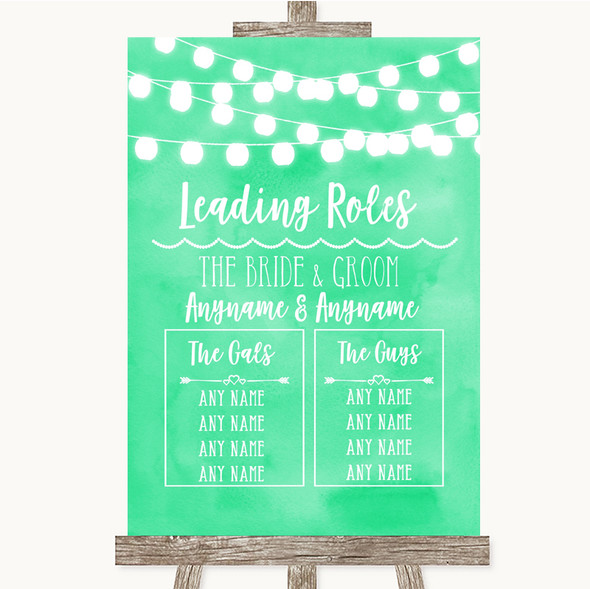 Mint Green Watercolour Lights Who's Who Leading Roles Personalised Wedding Sign