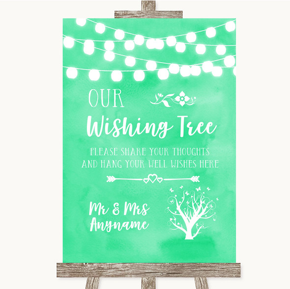 Mint Green Watercolour Lights Wishing Tree Personalised Wedding Sign