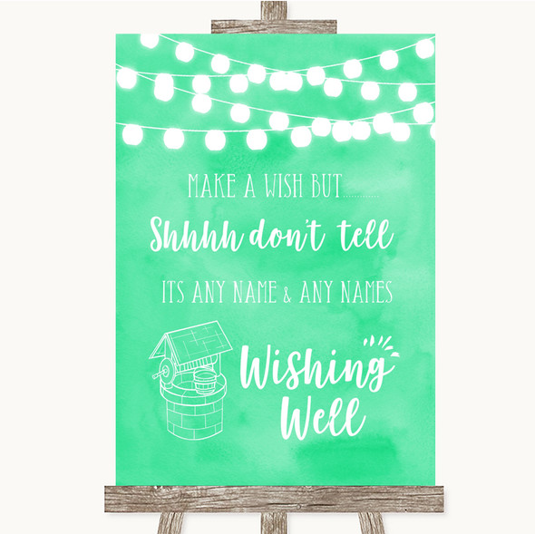 Mint Green Watercolour Lights Wishing Well Message Personalised Wedding Sign