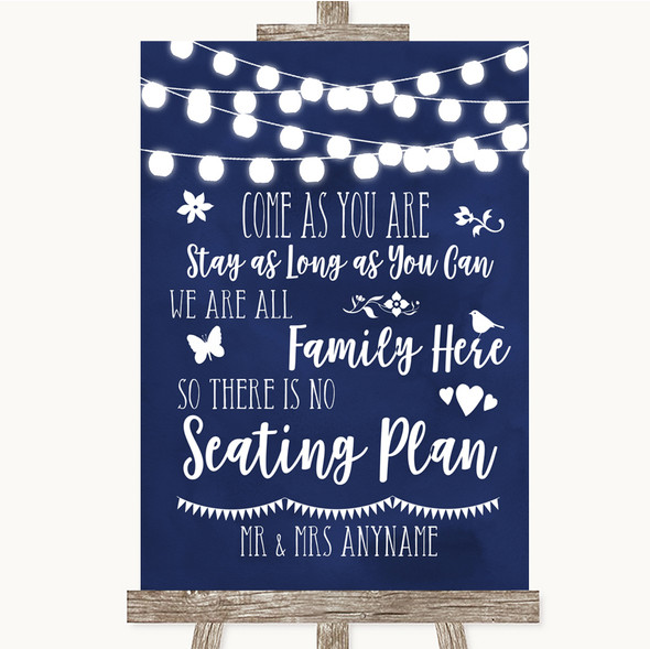 Navy Blue Watercolour Lights All Family No Seating Plan Wedding Sign