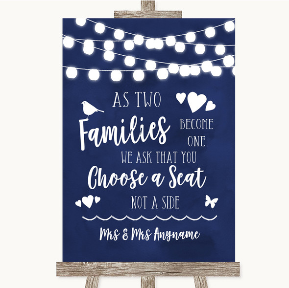 Navy Blue Watercolour Lights As Families Become One Seating Plan Wedding Sign