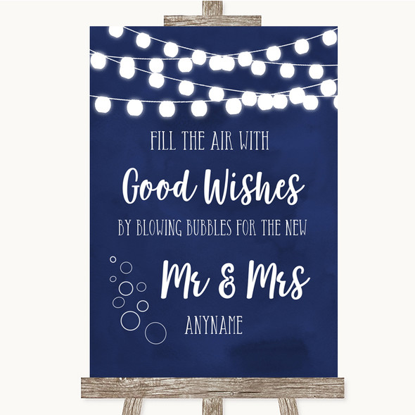 Navy Blue Watercolour Lights Blow Bubbles Personalised Wedding Sign