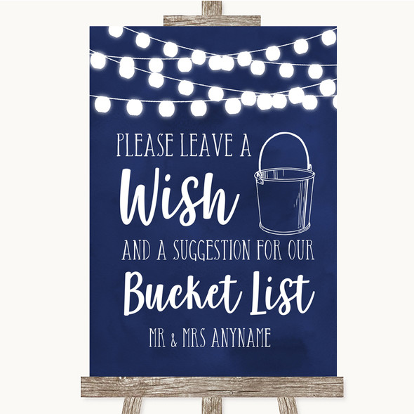Navy Blue Watercolour Lights Bucket List Personalised Wedding Sign
