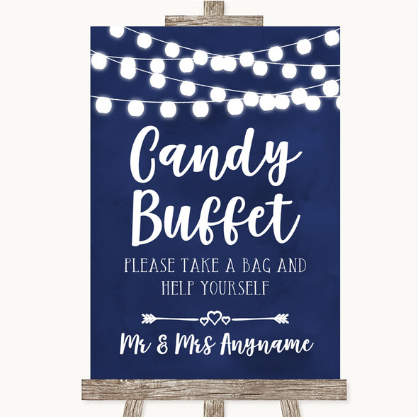 Navy Blue Watercolour Lights Candy Buffet Personalised Wedding Sign