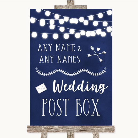 Navy Blue Watercolour Lights Card Post Box Personalised Wedding Sign