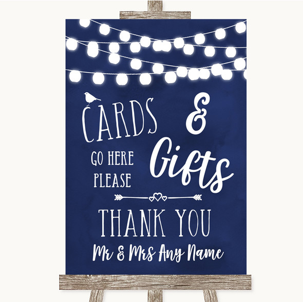 Navy Blue Watercolour Lights Cards & Gifts Table Personalised Wedding Sign