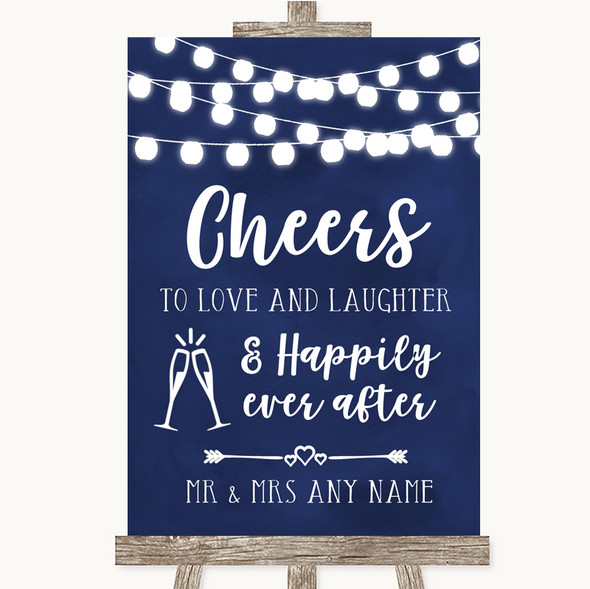 Navy Blue Watercolour Lights Cheers To Love Personalised Wedding Sign