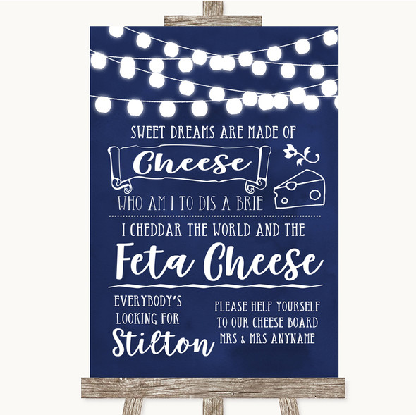 Navy Blue Watercolour Lights Cheeseboard Cheese Song Personalised Wedding Sign