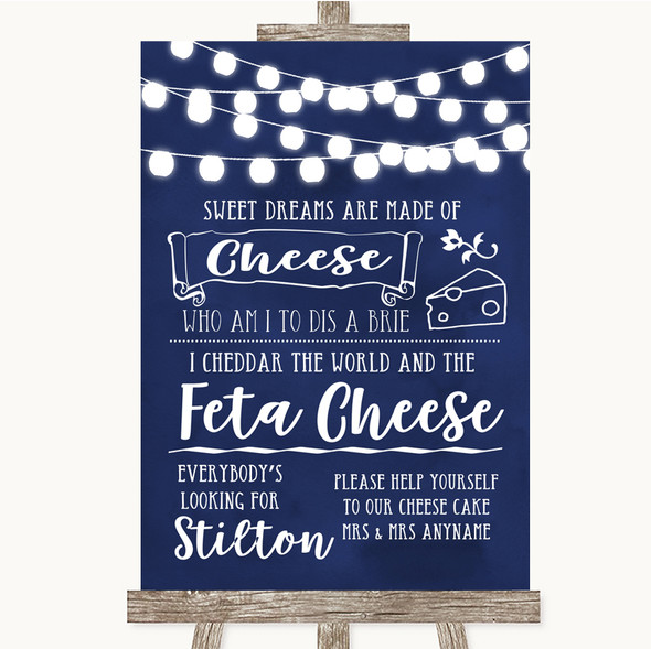 Navy Blue Watercolour Lights Cheesecake Cheese Song Personalised Wedding Sign