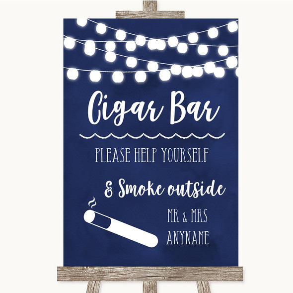 Navy Blue Watercolour Lights Cigar Bar Personalised Wedding Sign
